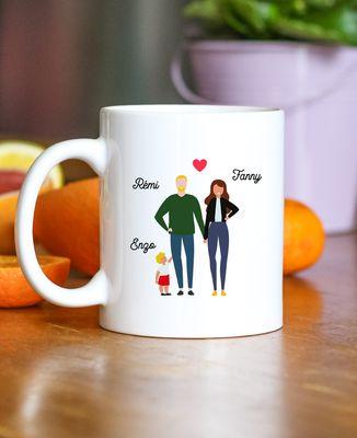Mug Famille de 3 avec 2 parents personnalisé