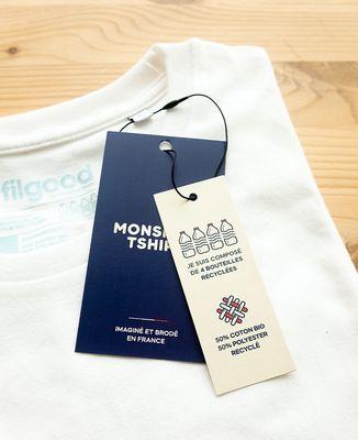 T-shirt homme recyclé Filgood Filgood message brodé personnalisé