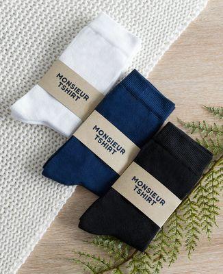 Coffret 3 paires de chaussettes - Blanc Bleu Noir