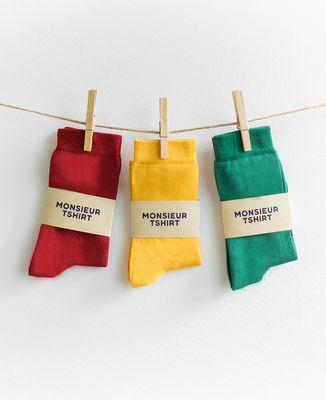 Coffret 3 paires de chaussettes - Rouge Vert Jaune