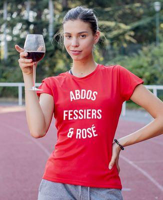 T-shirt sport femme Abdos, fessiers & rosé