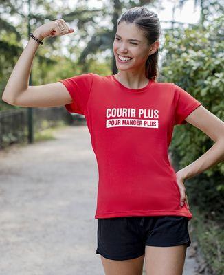 T-shirt sport femme Courir pour manger plus