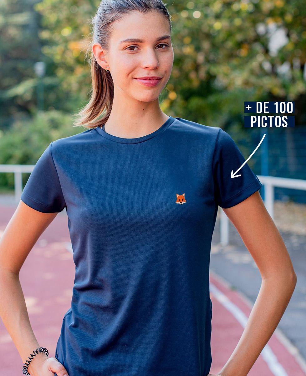 T-shirt sport femme Picto brodé personnalisé