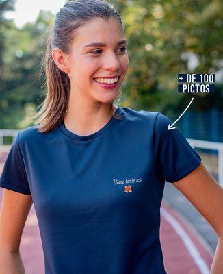 T-shirt sport femme Message et picto brodés personnalisé