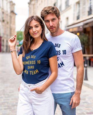 T-Shirt homme Que des numéros 10 dans ma team (effet velours)