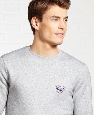 Sweatshirt homme Papa coeur (brodé)