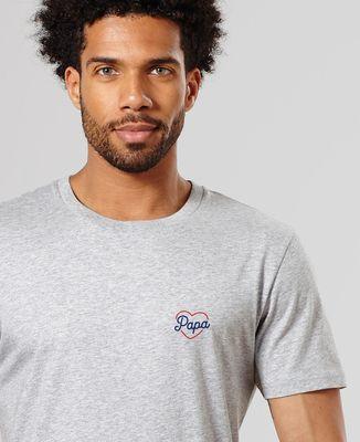 T-Shirt homme Papa coeur (brodé)