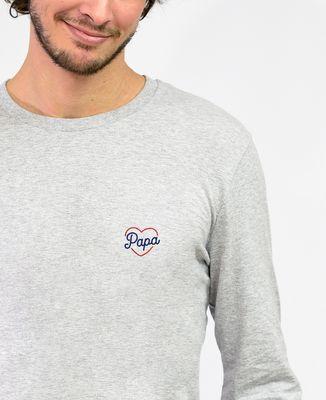 T-Shirt homme manches longues Papa coeur (brodé)