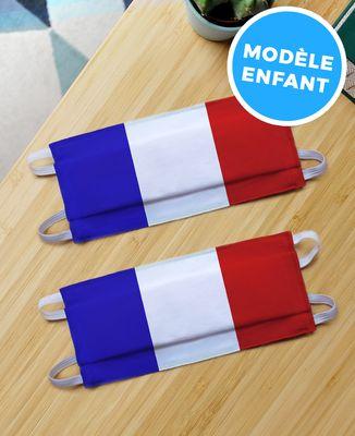 Masque de protection 2 Masques enfant Drapeau Français en coton bio