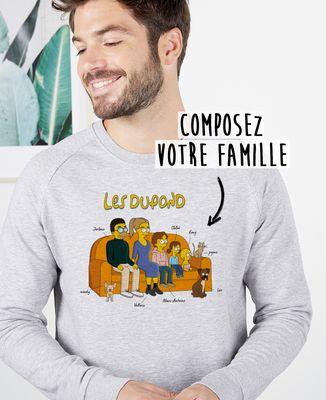 Sweatshirt homme Famille personnalisée cartoon