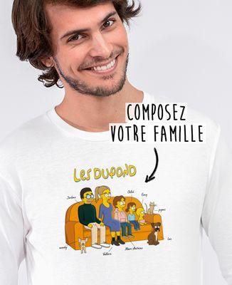 T-Shirt homme manches longues Famille personnalisée cartoon