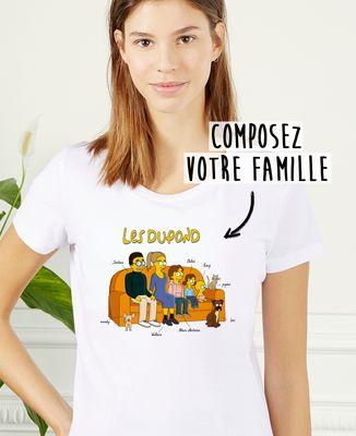 T-Shirt femme Famille personnalisée cartoon