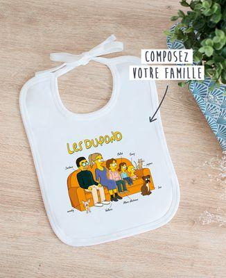 Bavoir Famille personnalisée cartoon
