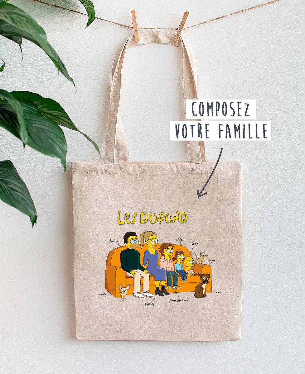 Tote bag Famille personnalisée cartoon