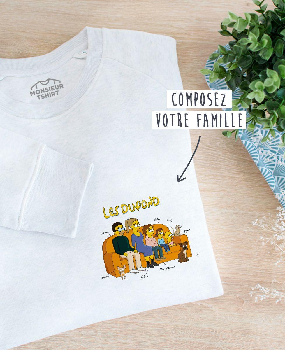 Sweatshirt homme Famille personnalisée cartoon coeur
