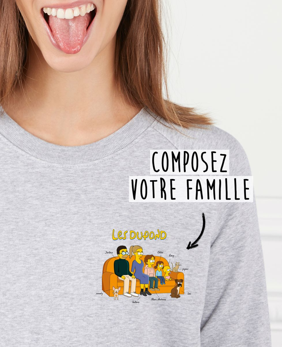 Sweatshirt femme Famille personnalisée cartoon coeur