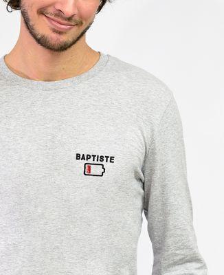 T-Shirt homme manches longues Batterie faible personnalisé (brodé)