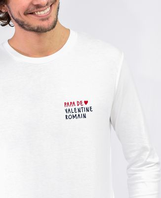 T-Shirt homme manches longues Papa de prénoms perso (brodé)