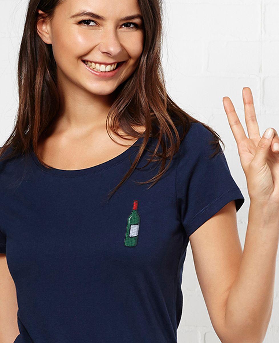 T-Shirt femme Écusson Bouteille de vin