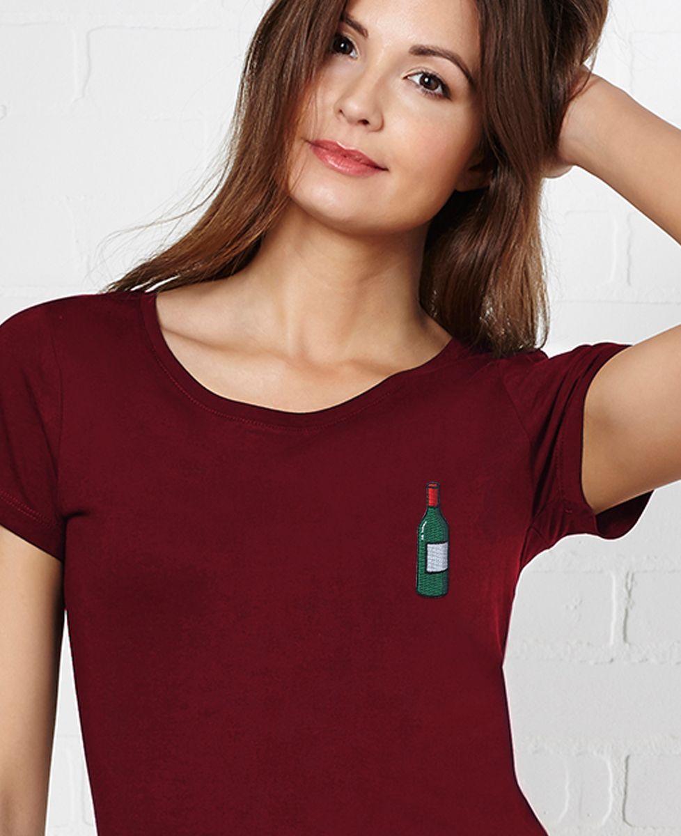 T De Femme Vin Shirt Écusson Bouteille vm8Nn0wO