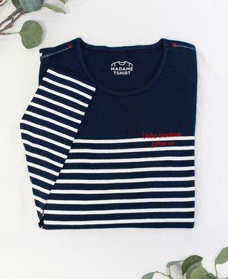T-Shirt enfant manches longues Message brodé personnalisé