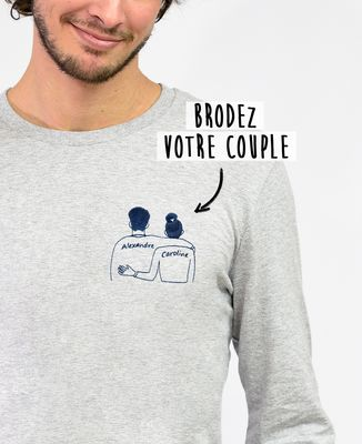 T-Shirt homme manches longues Couple brodé personnalisé