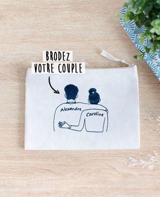 Pochette Couple brodé personnalisé