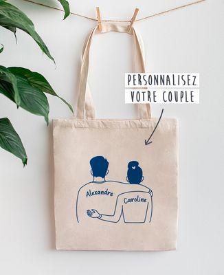 Tote bag Couple imprimé personnalisé