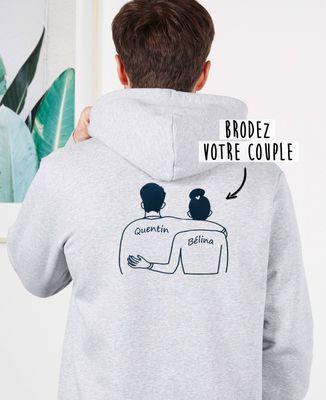 Hoodie zippé homme Couple brodé dans le dos personnalisé