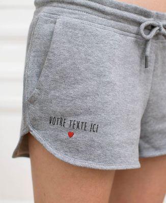 Short femme Petit coeur brodé personnalisé