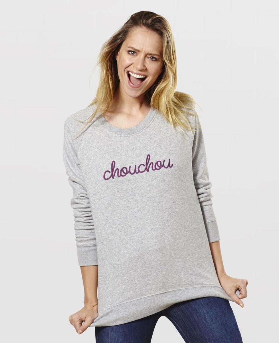 Sweatshirt femme Chouchou (grosse broderie)