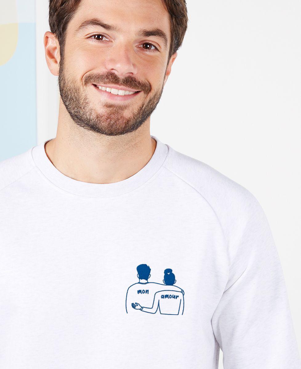 Sweatshirt homme Couple mon amour (brodé)
