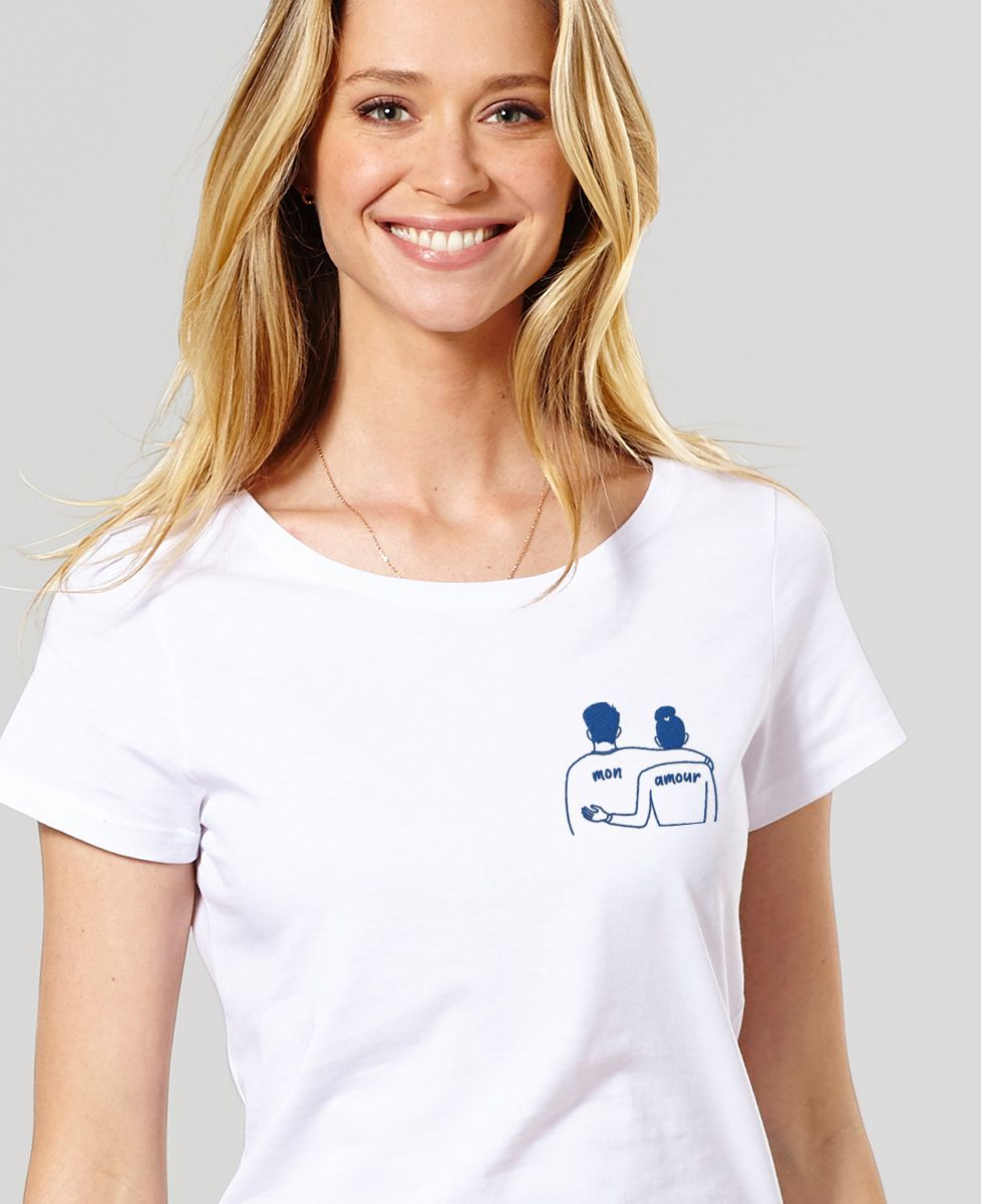 T-Shirt femme Couple mon amour (brodé)