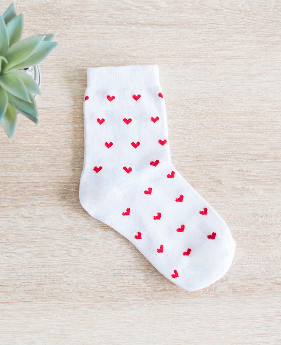 Chaussettes femme Blanches à motif Coeurs Rouges