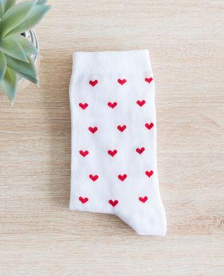 Chaussettes homme Blanches à motif Coeurs Rouges
