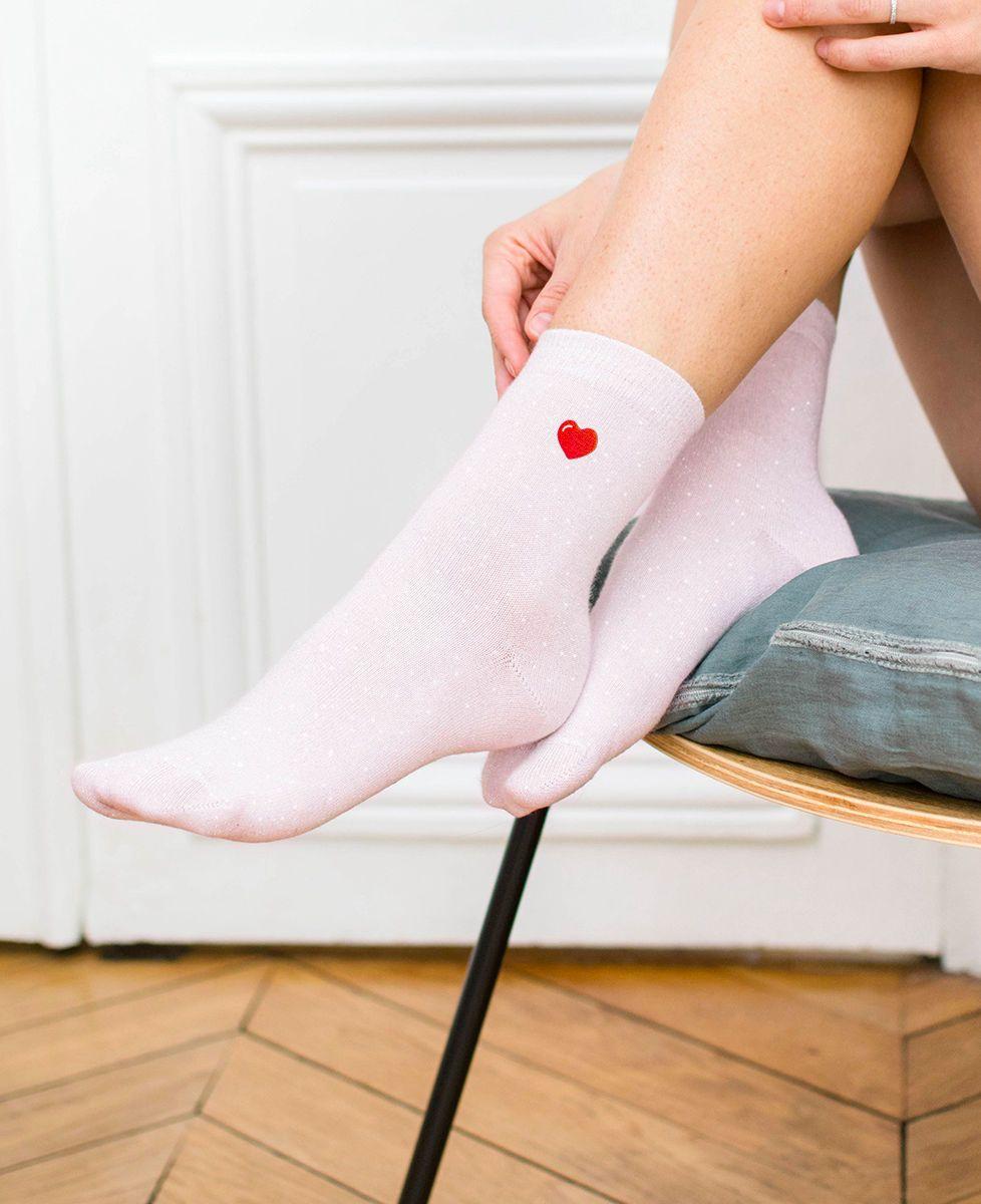 Coffret Culotte Bloomer P'tit chat (brodé à l'avant) + Chaussettes paillettes rose coeur (brodé)