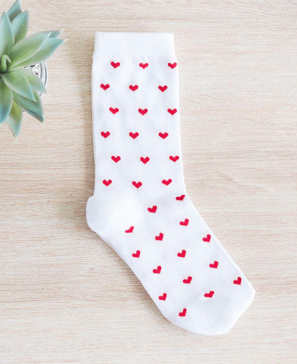 Coffret Boxer Rouge à motif Coeurs Écru + Chaussettes Blanches à Motif Coeur Rouge