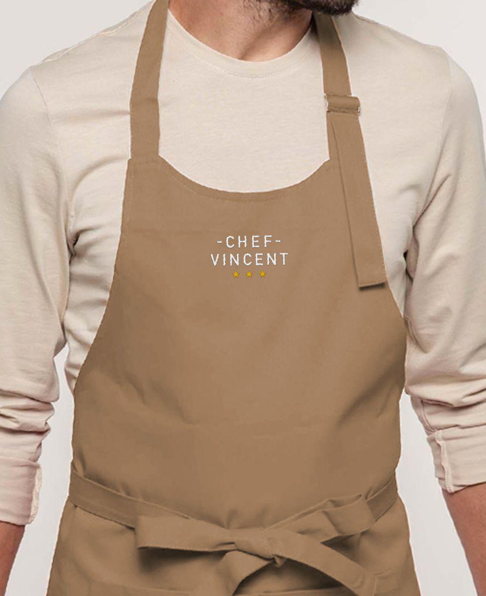 Tablier à poche Chef brodé personnalisé
