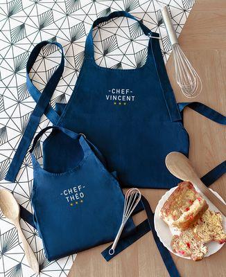 Tablier Enfant à poche Chef brodé personnalisé