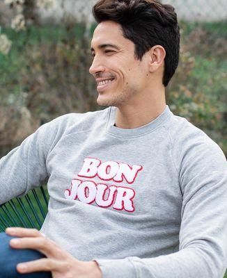 Sweatshirt homme Bonjour (effet bouclette)