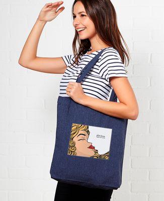 Tote bag Retro kiss with white stroke