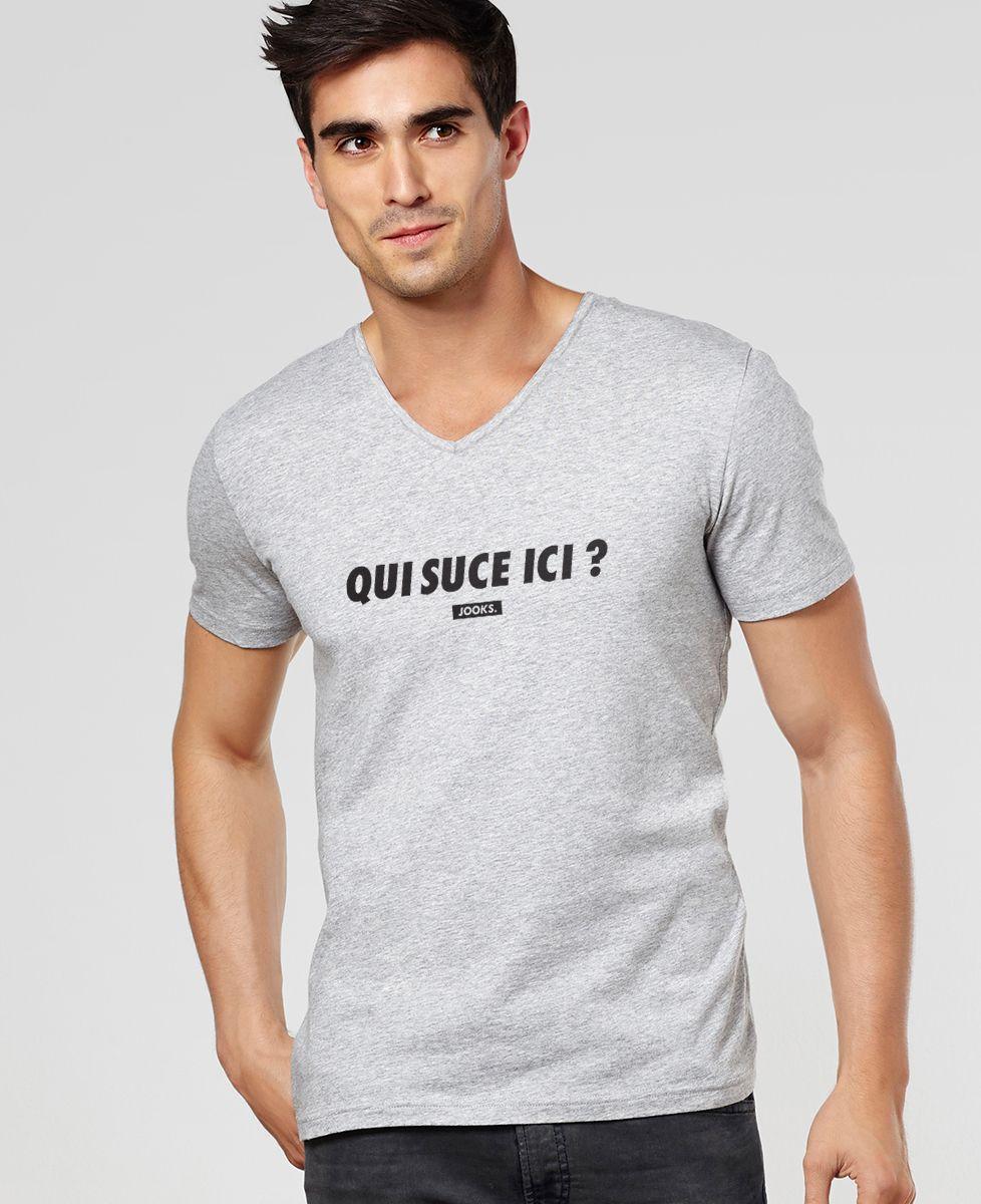 T-Shirt homme Qui suce ici ?