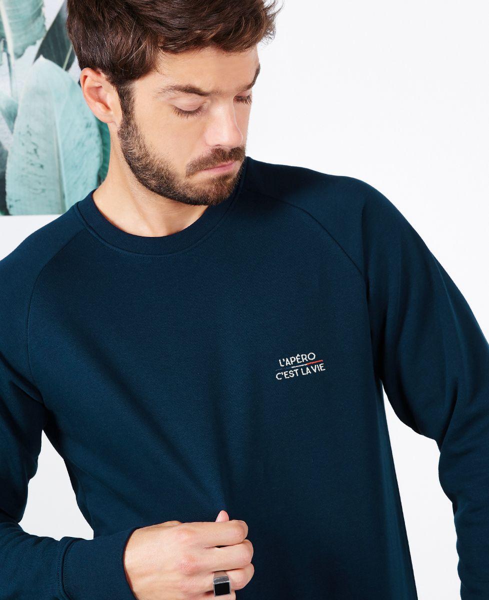 Sweatshirt homme L'apéro c'est la vie (brodé)