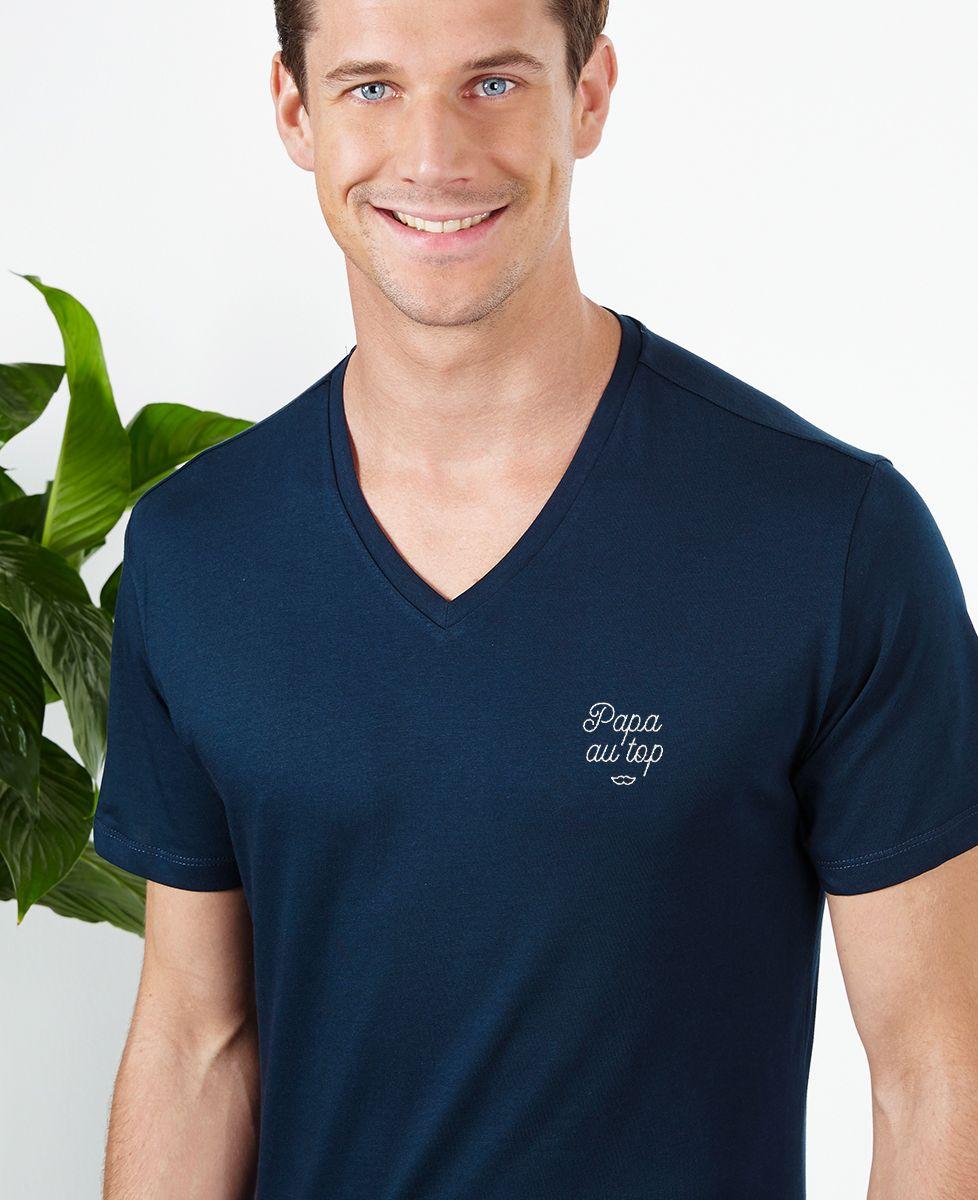 T-Shirt homme Papa au top brodé
