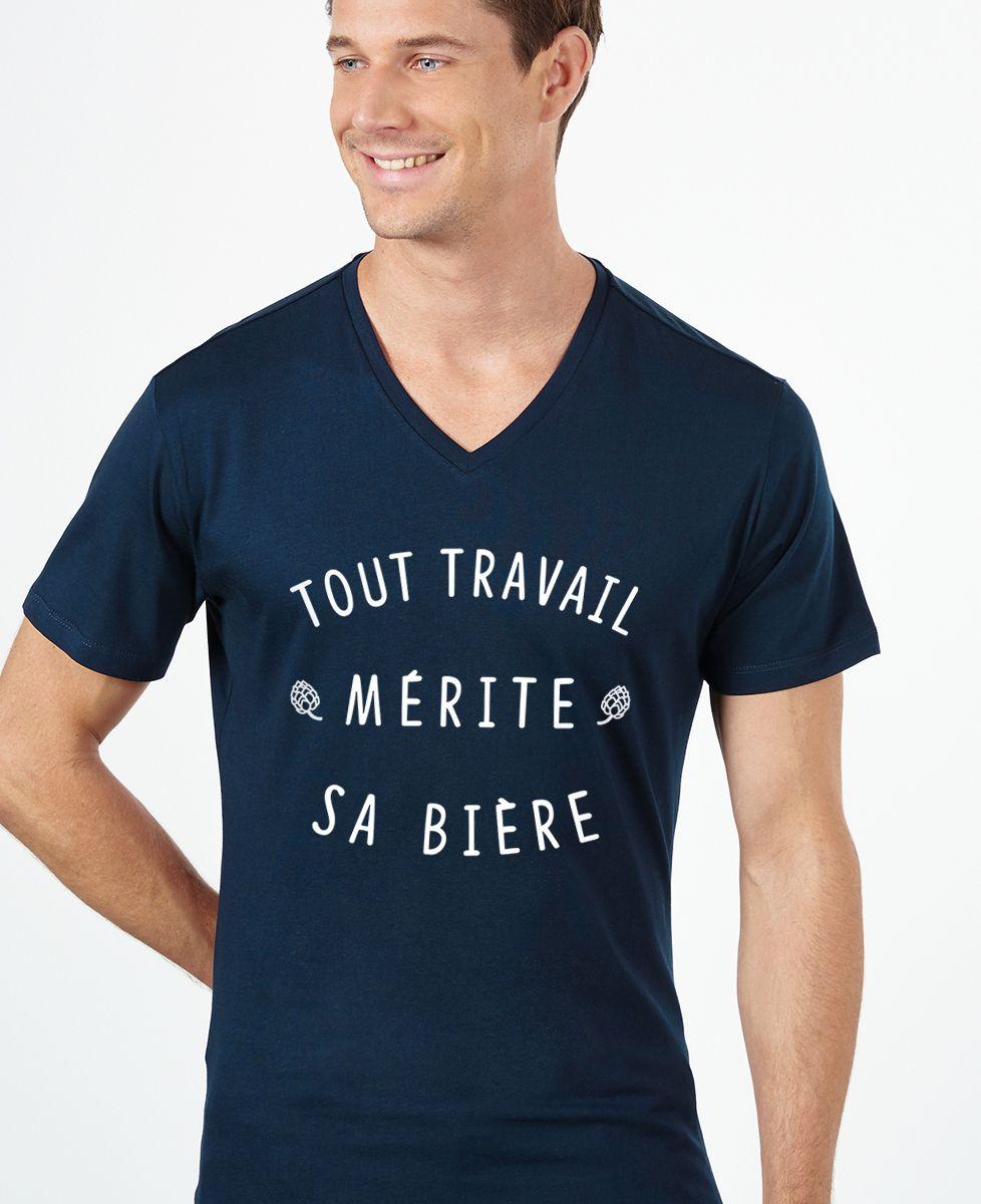 T-Shirt homme Tout travail mérite sa bière
