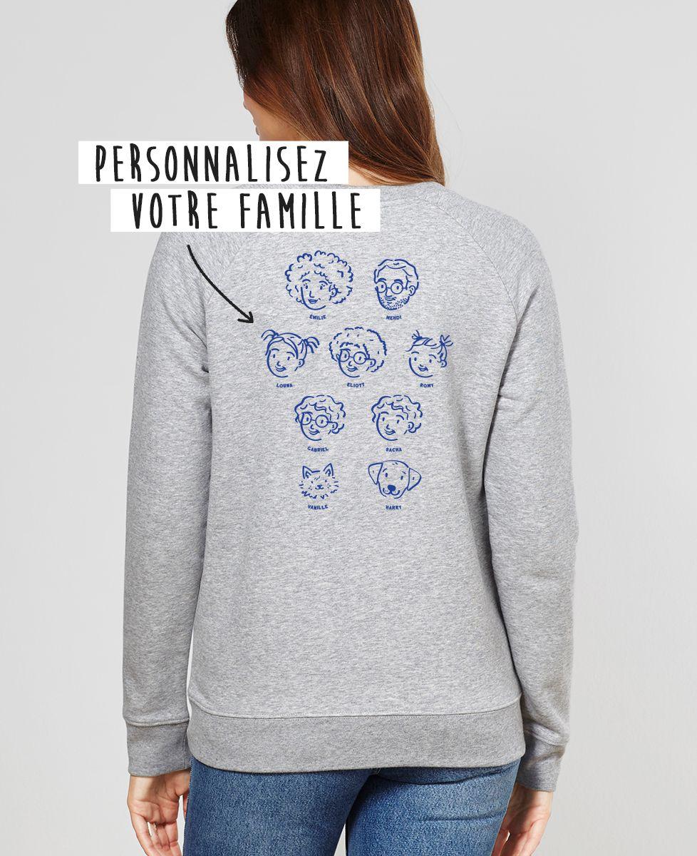Sweatshirt femme Ma famille d'amour personnalisé