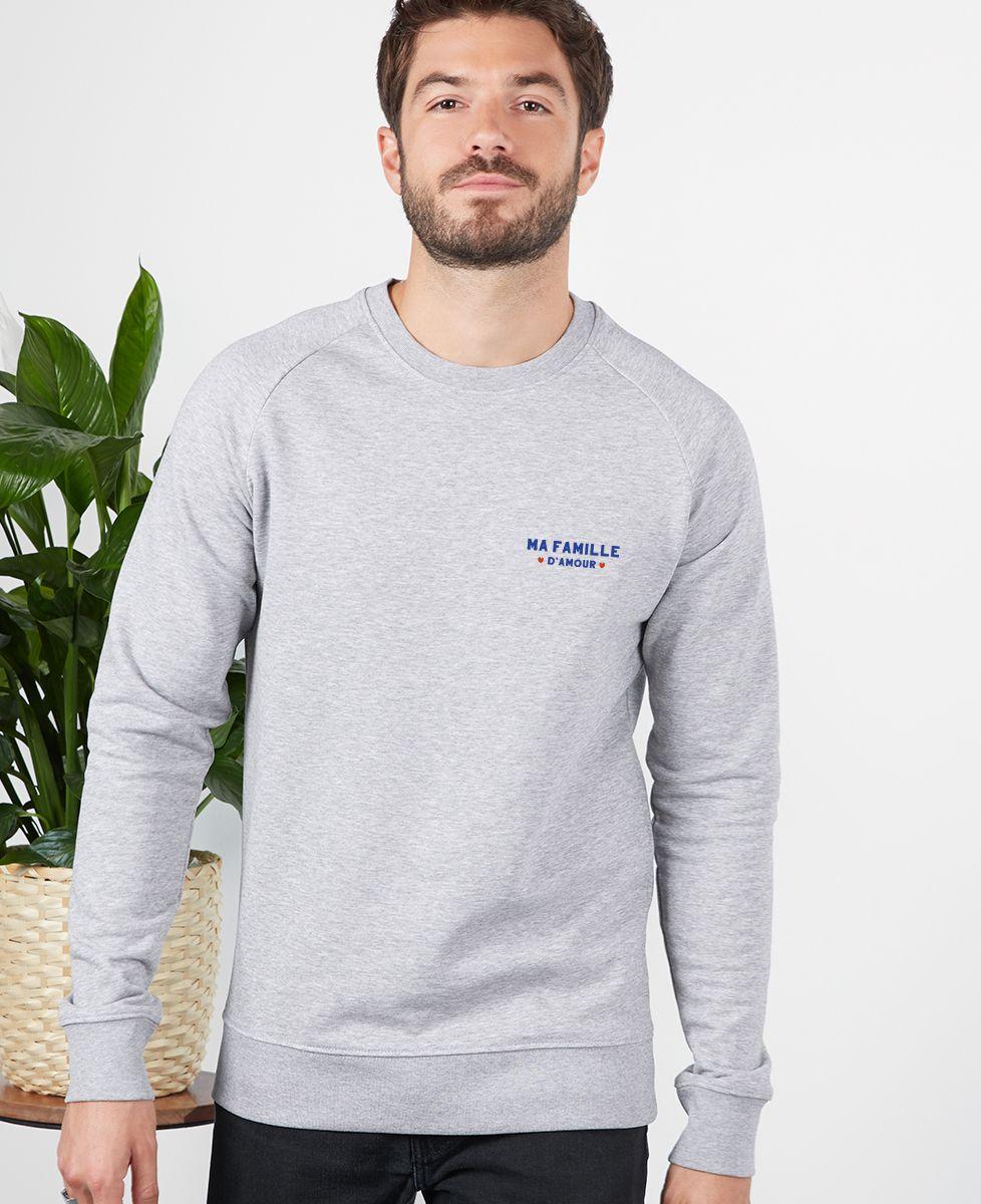Sweatshirt homme Ma famille d'amour personnalisé