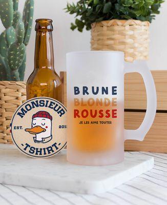 Chope de bière Brune Blonde Rousse