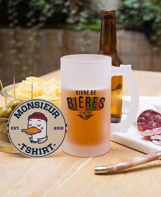Chope de bière Vivre de bières et de foot