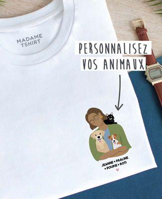 T-Shirt femme Mes animaux personnalisé